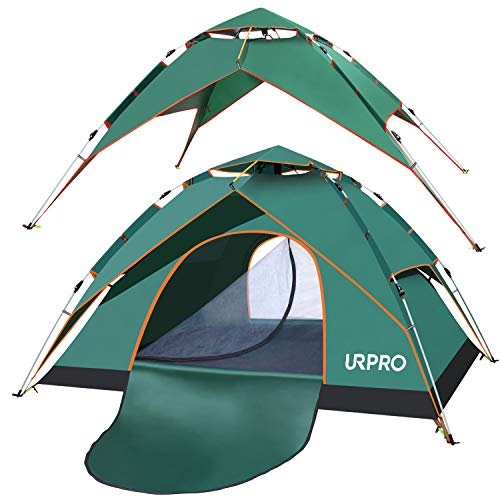 URPRO Family Camping Tent with shelter, 3-4 Person Automatic pop up Tent, Double Layers Waterproof, Windproof, with Carry Bag for Backpacker, Beach, Outdoor, Traveling,Hiking,Camping, Hunting