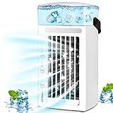 OOWOLF [Versión Mejorada] Mini Enfriador de Aire Portátil, 3 En 1 Ventilador/Enfriador/Luz Nocturna con Función de Humidificación, 3 Velocidades para Hogar Oficina, Regalo Verano