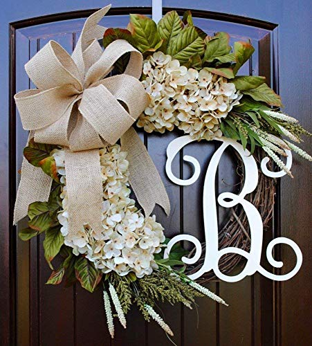 Hydrangea Monogram Initial Wreath with Choice of Bow and Cream Hydrangeas on Grapevine Base-Farmhouse Style Made in America