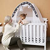 SDADI Baby Crib Safety Tent Pop Up Mosquito Net with Baby Monitor Hang Ribbon,Toddler Bed Canopy Netting Cover, WLCN02GS