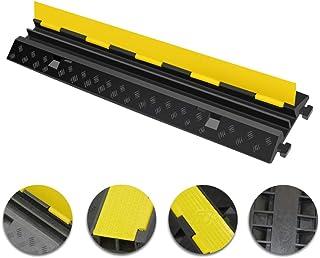 UFLIZOGH 2-kanals golvkabelskydd – tjockare modulär gummitråd kabelskydd ramp säkerhetsstötfångare för 32 mm/1,25 tum diam...