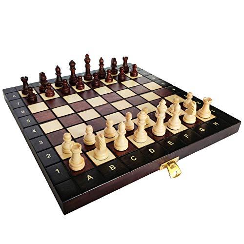 KHAPLO ® - Ajedrez de Madera - Ajedrez de Viaje, plegable - Juego de Ajedrez - Tablero madera - Hecho a Mano - 27 x 27 cm – Juego de Mesa – Modelo Babylon – Ajedrez para Niños - Escacs - Xadrez