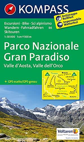 Parco Nazionale Gran Paradiso - Valle d'Aosta - Valle dell'Orco 1 : 50 000 (KOMPASS-Wanderkarten, Band 86)