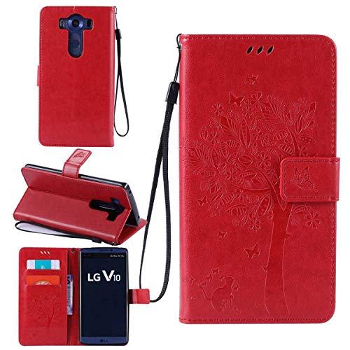Sangrl Wallet Hülle Für LG V10, Mode PU-Leder Magnetisch Schliessen Schmetterling Handyhülle Mit Halterung Katze & Baum Geprägtes Design Hülle - Rot