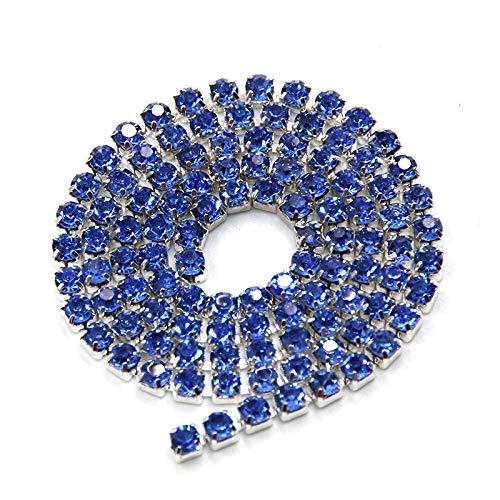 AUBERSIT 5 Yardas Base de Astilla, Azul Claro, Cristal, Diamantes de imitación, Cadena de Copa, Ropa de Bricolaje, Accesorios para Vestidos de Novia, Azul Claro, ss6 2.0 mm