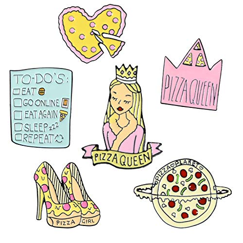 6 Packs Cute Backpack Shirt Enamel Brooch Accessories Sexy Girl Decoration Pins Set (Pizza Queen)