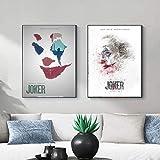 asasI9 Personaje de película clásica Pintura en Lienzo Abstracta Papel de Villano El Joker Cartel Creativo Dormitorio Sala de Estar Decoración Arte estético 50x70cmx2-Sin Marco