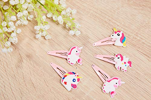 Rainbow Unicorn Hair Clips - 24-Pack Anti-Slip Snap Hairclips for Girls, Assorted Pink Unicorn-Themed Barrette Hair Pins, Ideal for Birthday Party Supplies Favors, Game Prizes 5