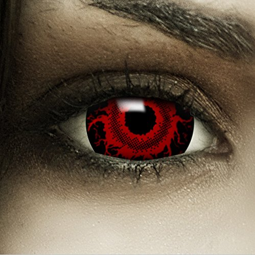 FXCONTACTS Farbige Kontaktlinsen Cataclysm Mini Sclera, in rot und schwarz inklusive Kunstblut Kapseln und Kontaktlinsenbehälter, 1 Paar Linsen (2 Stück) weich, ohne Stärke