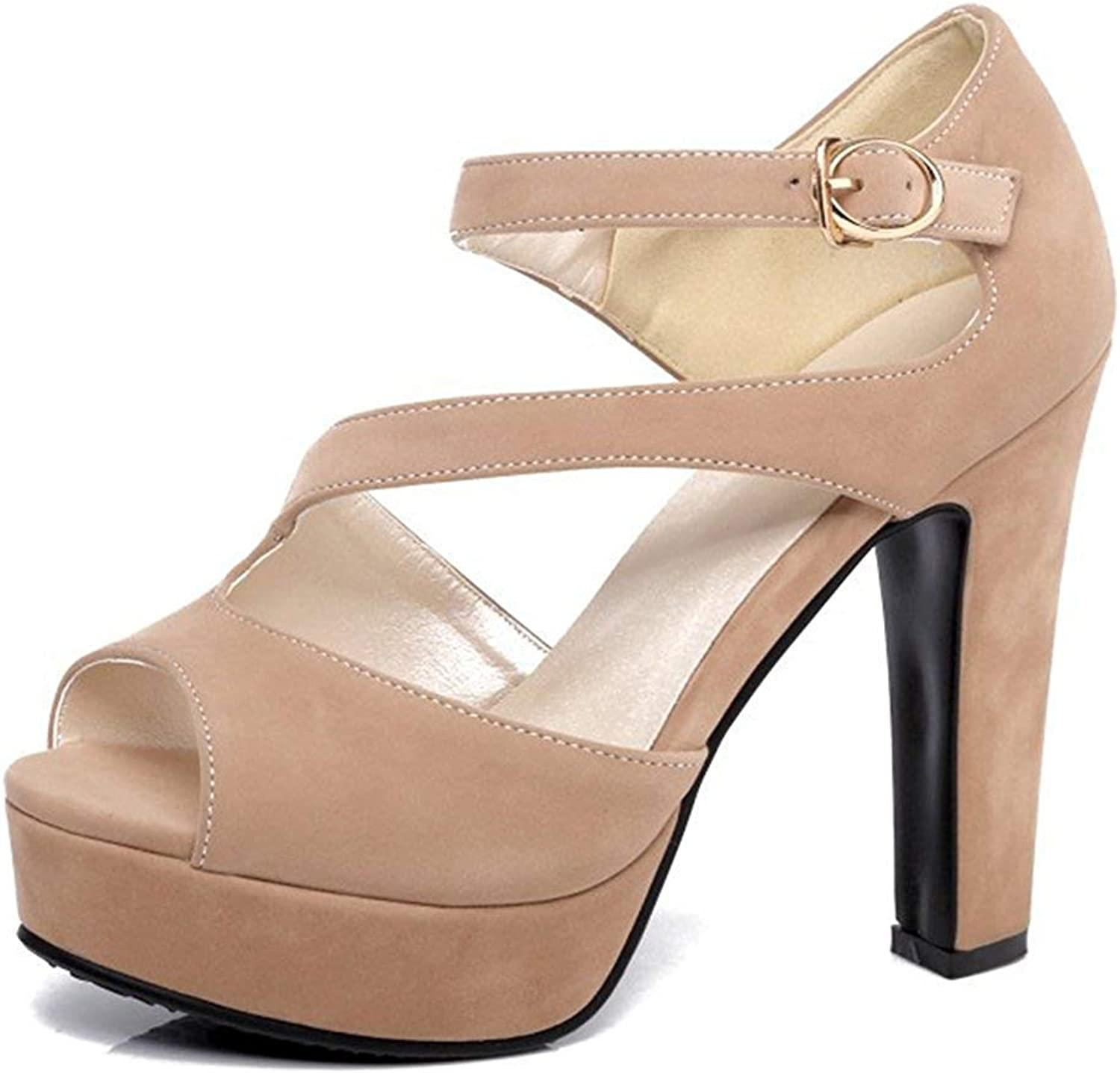 Unm Women's Peep Toe Sandals with Ankle Strap - Sexy Buckled High Heel - Platform Chunky shoes
