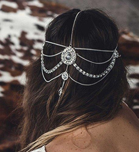 FXmimior Chaîne de cheveux pour mariée Bohème Bohème Grecian Bijoux de tête Bollywood Bride Glam