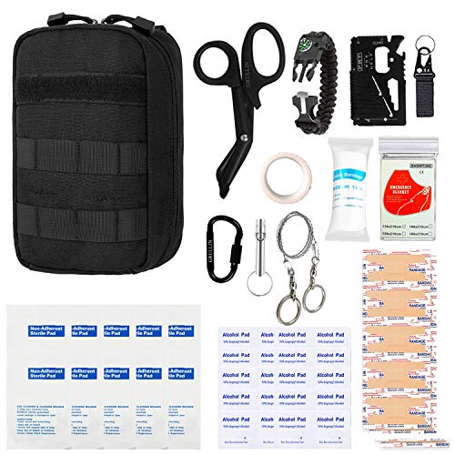 GRULLIN First Aid Survival Kit, Tactical Molle IFAK Pouch Outdoor Emergency kit Home Office Car Randonnée Chasse Camping Adventure(Noir)