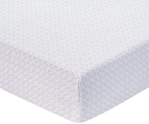 Amazon Basics Spannbetttuch, Mikrofaser, grau mit Gittermuster, 180x200x30cm