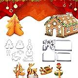 BONHHC Christmas Cookie Cutters/Gingerbread House di Natale / 3D Casa di Marzapane Formine per Biscotti/Inossidabile per Biscotti Stampo da Cucina Adatto per la Cottura di Biscotti (18 Pezzi)