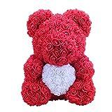 Amosfun 40 cm Rose Bear Rose Flower Artificial Decoration Regalo di San Valentino Regalo Creativo...