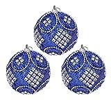 LIXBD 3 bolas de adorno para árbol de Navidad, mini bolas de espuma con purpurina, colgante de decoración de 8 cm (rosa) (color: azul)