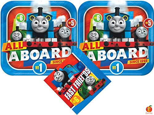 Thomas and Friends Lunch Plates and Luncheon Napkins Bundle for 16 Guests