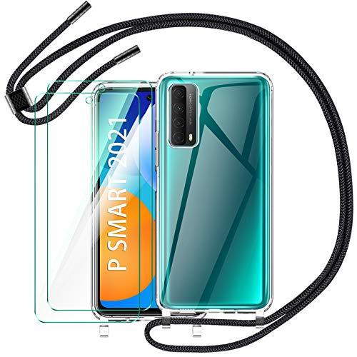 AROYI Handykette Hülle für Huawei P Smart 2021 + [2 Stück] Panzerglas, Necklace Handyhülle mit Band Transparent Silikon Schutzhülle Hülle für Huawei P Smart 2021 - Schwarz