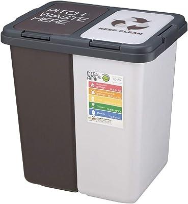 パルマート(Palmart) フタ付きゴミ箱 ホワイト×ブラウン 40L(20L+20L) キープクリーン セパラ T-507560
