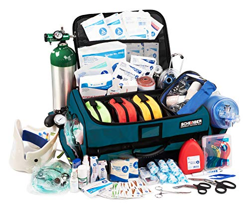 Scherber First Responder Bag   Fully Stocked Ultimate Professional EMT/EMS Trauma Kit   Reflective Bag w/10+ Compartments, Zippered Pockets, Dividers, Oxygen Access & 250+ First Aid Supplies - Blue