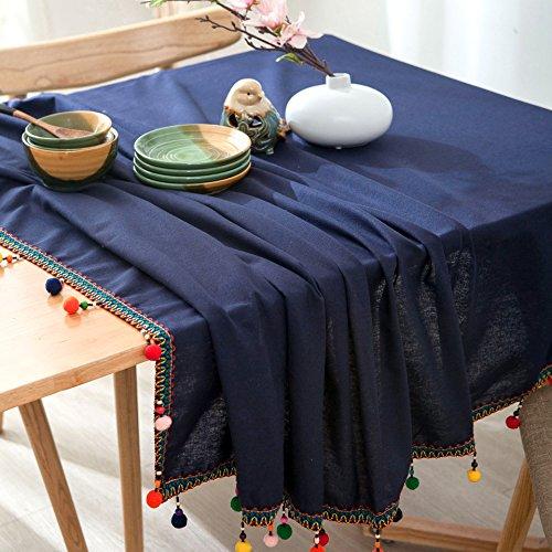 Nappe en lin de coton de coutume de la coutume-bleu marine classique européenne de bleu marine , 140 * 220cm
