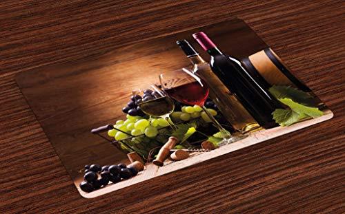 ABAKUHAUS Wijn Placemat Set van 4, Frans Gourmet Tasting, Wasbare Stoffen Placemat voor Eettafel, Brown Ruby Pale Green