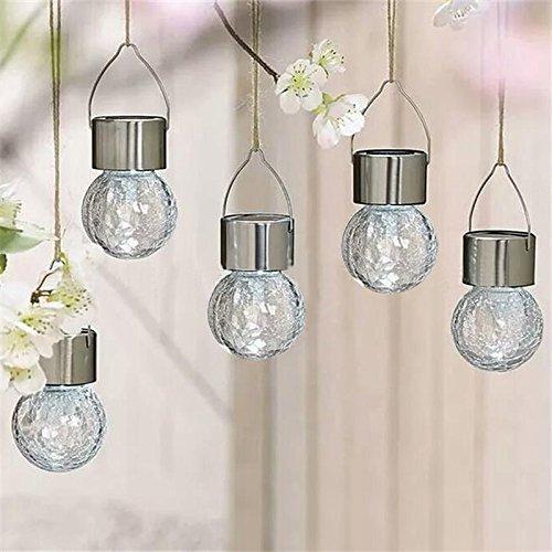 CISCO 4PCS Cambio de color LED de acero inoxidable craqueo de vidrio colgante Jardín solar bombillas camino jardín lámpara CIS-57694CC