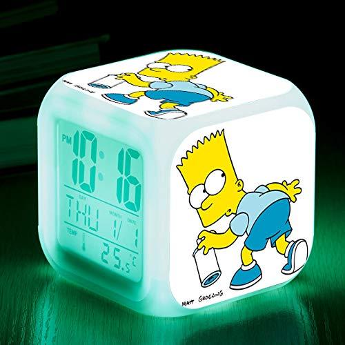 HHKX100822 Die Simpsons Bunte Farbe Ing-Change Wecker Led Quad Bell Kinder Kreative Geschenk Kleine Wecker 17