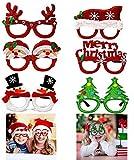SuperCat Fiesta de Navidad Gafas de Brillo Gafas de Sol de muñeco de Nieve de Santa Gafas Gafas de árbol Decoración de Disfraces Artículos de Fiesta para niños y Adultos Novedad Estilo Juego de 6