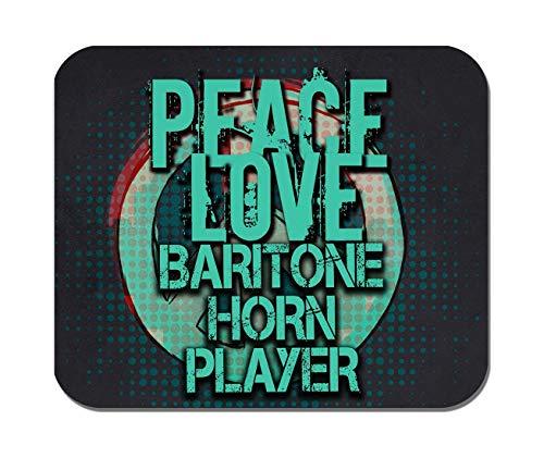 Makoroni - Peace Love Baritone Horn Player Music- Non-Slip Rubber - Computer, Gaming, Office Mousepad