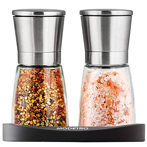 Modetro Salz und Pfeffermühle - Gewürzmühlen Set mit einstellbarem Keramikmahlwerk - Menagen aus Glas und Edelstahl