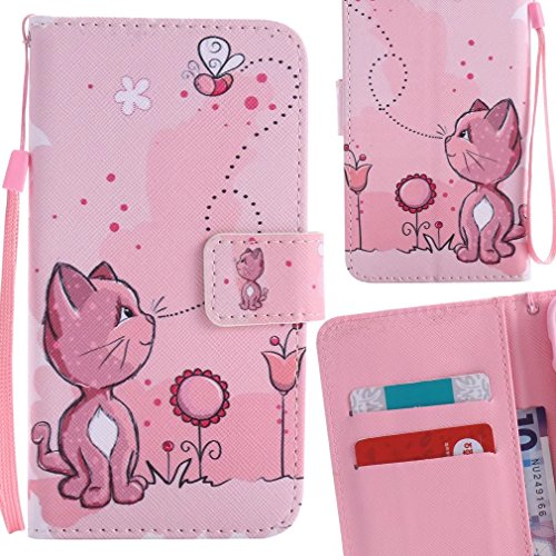 LEMORRY Handyhülle für ZTE Z981 Hülle Tasche Ledertasche Flip Beutel Haut Slim Bumper Schutz Magnetisch Schließung SchutzHülle Weich Silikon Cover Schale für ZTE Z981, Liebenswerte Katze