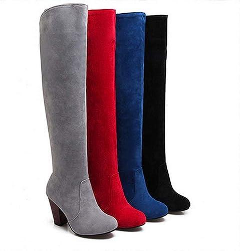 ZHRUI Stiefel para damen - Stiefel de Cuero Mate avanzadas Stovepipe Sobre la Rodilla más Terciopelo Stiefel para damen 36-43 (Farbe   rot, tamaño   42)