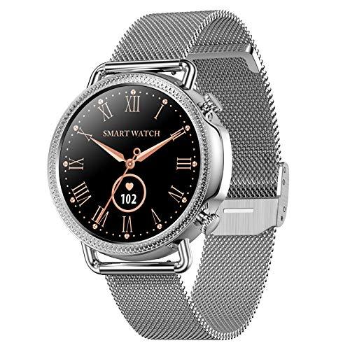 HQPCAHL Smartwatch, Reloj Inteligente con Monitoreo De Temperatura Frecuencia Cardíaca Sueño Presión Arterial Oxígeno En Sangre, Podómetro De Seguimiento De con Pantalla Táctil para Android iOS,Plata