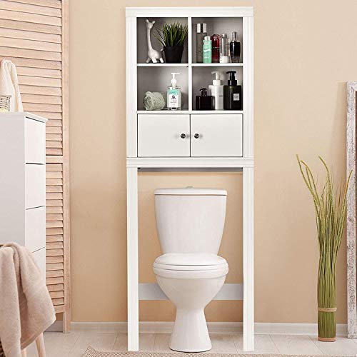 Nightcore Bathroom Storage Rack Over The Toilet, Toilet Organizer with 4 Open Space, Space Saver Cabinet, Sturdy and Durable Bathroom Shelf, White