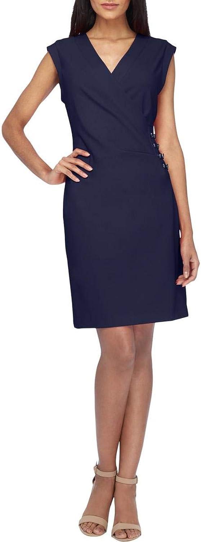 Tahari Womens FauxWrap Embellished Tuxedo Dress