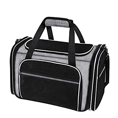MASKEYON Large Collapsible Airline Approved Soft Sided Pet Carrier, Portable Car Train Travel TSA Cat Carrier 5 Entry with 3 Removable Pad and Mesh Pockets for Cats Dogs and Small Animal of 20 Lbs
