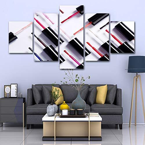 TBDZPS Hauptdekoration Leinwand Nagellack Malerei Salon Bilder Wandkunst HD-Drucke 5 Panel Poster für Wohnzimmer