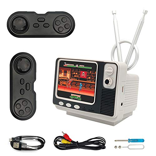 GV300 retro bookshelf TV game console 3.0 Inch Dual Bluetooth wireless controller Support for Connecting TV Two power supply modes 1000mAh Rechargeable Battery Present or 4 AA for Kids Adult Silver