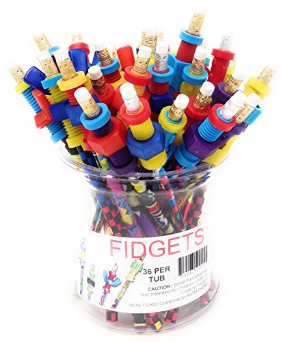 Fidget Pencil Toppers, Tub of 36