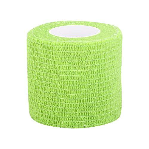 Zelfklevende cohesieve bandage, 10 stuks, ademende zelfklevende wrap, zelfklevende bandage wrap, sporttape, EHBO-tape, medische tape voor pols, enkelverstuikingen en zwelling(Fluoriserend Groen)