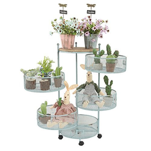 Ali@ Pays Nordique Rétro En Fer Forgé Pliant Fleur Rack Accueil Shop Étagère De Stockage Rack