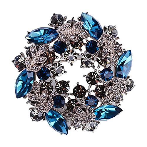 Colcolo Broche de Cristal de Diamantes de imitación, Broche Broche Ramillete para Fiesta celebración, Boda, día de San Valentín, Aniversario - Azul