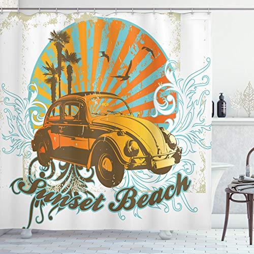 ABAKUHAUS Autos Duschvorhang, Summer Season Design Auto, Klare Farben aus Stoff inkl.12 Haken Farbfest Schimmel & Wasser Resistent, 175 x 200 cm, Amber Orange Aqua