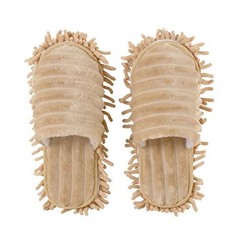 Proglam - 1 par de Zapatillas de mopa para Limpieza de Suelos, cálidas, duraderas para el hogar o el Dormitorio, Beige, Large