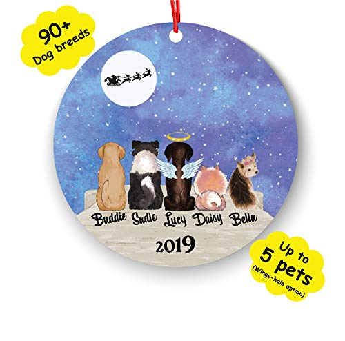 Personalized Dog Cat Custom Pet Name & Picture Christmas Ornament Idea Funny Pet Customizable Gifts for Birthday Fur Mom Dad for Dog Lover (Number of pet 2)