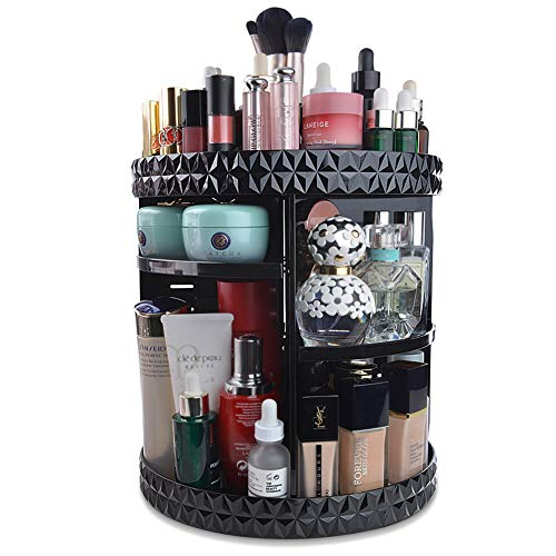InnSweet 360 Rotating Makeup Organizer, Adjustable Cosmetic Storage Display Case with 8 Layers, Large Capacity Cosmetic Shelf, Acrylic Black