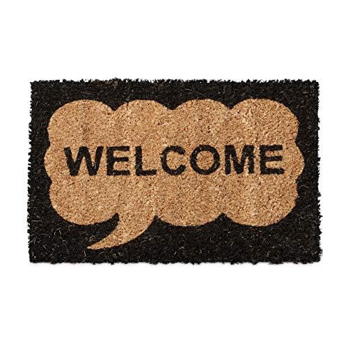 Relaxdays Mini Paillasson enfants avec motifs WELCOME tapis entrée pour les petits fibres de coco tapis de sol chambre enfant tapis antidérapant caoutchouc 1,5 x 40 x 25 cm, motif welcome