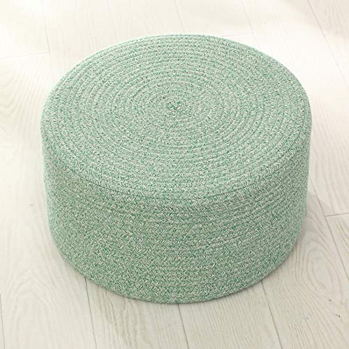 LOVE-CUSHION Coussins Rond en 100% Coton Épaissir Futon Tapis De Sol Couleur Unie Tapis De Salon Tatami Coussins, 2 Tailles Green-Diameter:45cm[High:20cm]