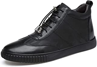 XUJW-Shoes, Casual Sneakers for Men Walking Ankle Shoes Lace up Durable Comfortable Walking Travel Classic Soft Leather Strong Rubber Antislip Outsole High Top (Color : Black, Size : 8.5 UK)